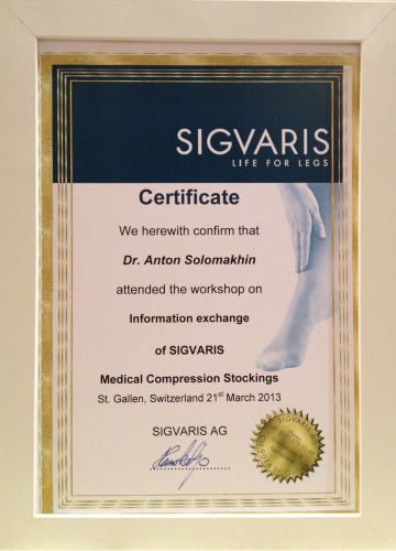 We herewith confirm that Dr. Anton Solomakhin attended the workshop on information exchange of SIGVARIS Medical Compression Stockings St. Gallen, Switzerland 21st March 2013